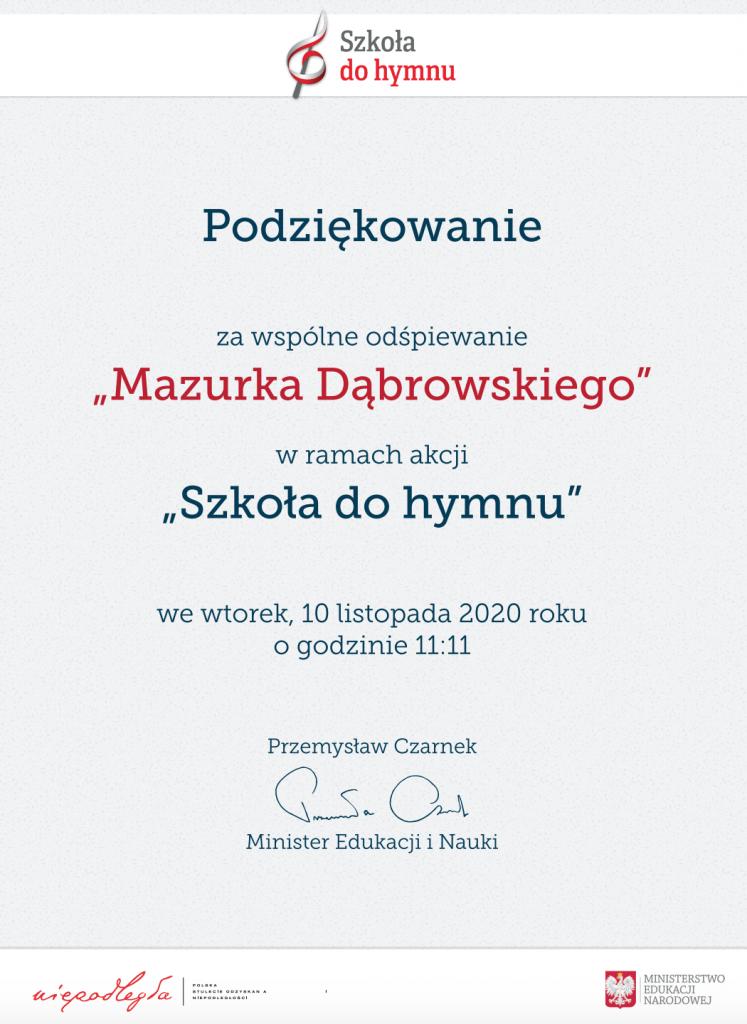 """Na obrazku są podziękowania za wspólny śpiew """"Mazurka Dąbrowskiego"""""""