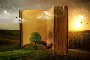 Obrazek przedstawia książkę wtopioną w krajobraz lasu