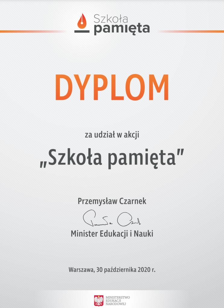 """Obrazek przedstawia dyplom za udział w akcji """"Szkoła pamięta""""."""