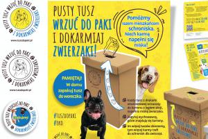 Plakat akcji Eko zwierzaki - na obrazku 2 psy i pudło na tusze